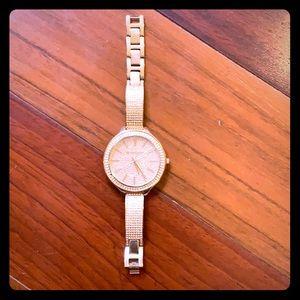 Michael Kors Rose Gold Crystal Slim Watch